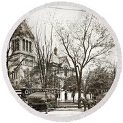 Old Courthouse Public Square Wilkes Barre Pa Late 1800s Round Beach Towel