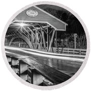 Old Covered Bridge  Round Beach Towel