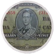 Old Currency  Round Beach Towel