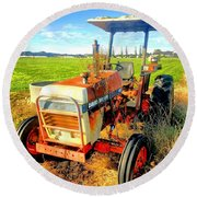Old David Brown Tractor  Round Beach Towel