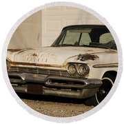 Old Desoto In Sepia Round Beach Towel