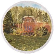 Old Dodge Truck In Garden Round Beach Towel