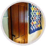 Old Door - New Quilt Round Beach Towel