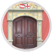 Old Door And Emblem Round Beach Towel