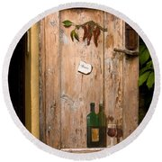 Old Door And Wine Round Beach Towel