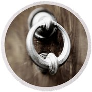 old Door Knocker Round Beach Towel