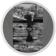 Old Door Latch Round Beach Towel