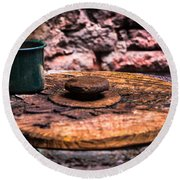 Old Drinking Cup Round Beach Towel