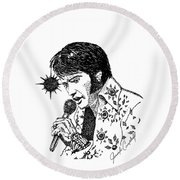 Old Elvis Round Beach Towel