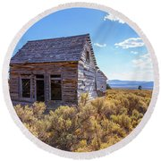 Old Farm House Widtsoe Utah Ghost Town Round Beach Towel