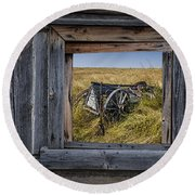 Old Farm Wagon Viewed Through A Barn Window Round Beach Towel
