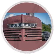 Old Farmall Tractor Grill And Nameplate Round Beach Towel