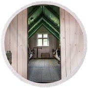 Old Farmhouse Interior Iceland Round Beach Towel