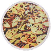Old Fashion Landmark Buttons Round Beach Towel