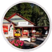 Old Fashioned General Store Round Beach Towel