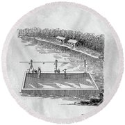 Old Ferryboat Patent Round Beach Towel