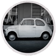 Old Fiat On The Streets Of Florence Round Beach Towel