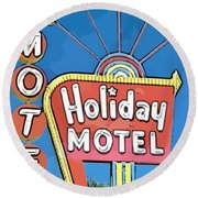 Old Fifties Vegas Hotel Sign Painting Round Beach Towel