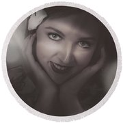 Old Film Noir Photo On The Face Of A 1920s Lady Round Beach Towel