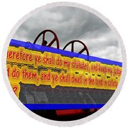 Old Fire Truck With Text 3 Round Beach Towel