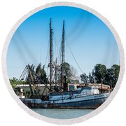 Old Fishing Boat In Port Round Beach Towel
