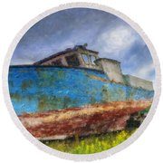 Old Fishing Boat Round Beach Towel
