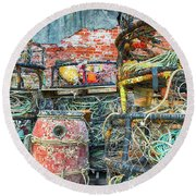 Old Fishing Gear Round Beach Towel