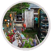 Old Fishing  House 2 Round Beach Towel