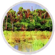 Old Florida Loop Palms Round Beach Towel