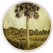 Old Florida Palm Round Beach Towel