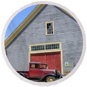 Old Ford Model A Pickup In Front Barn Round Beach Towel