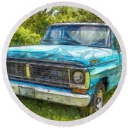 Old Ford Pick Up Truck Pencil Round Beach Towel