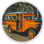 Old Ford School Bus No. 32 Round Beach Towel