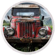 Old Forgotten Red Car Round Beach Towel