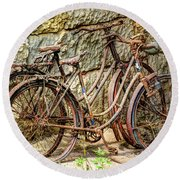 Old French Bicycles Round Beach Towel by Debra and Dave Vanderlaan
