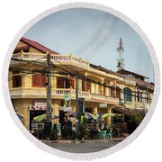 Old French Colonial Architecture In Kampot Town Street Cambodia Round Beach Towel