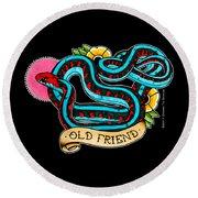 Old Friend Red-sided Gartersnake Round Beach Towel