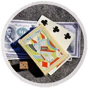 Old Gambling Articles Round Beach Towel