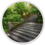 Old Garden With Stone Walls And Stair Steps Round Beach Towel