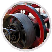 Old Gas Engine With Digital Effects Round Beach Towel