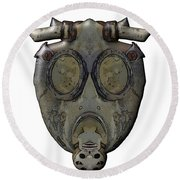 Old Gas Mask Round Beach Towel