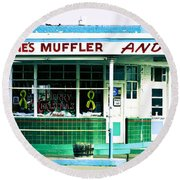 Old Gas Station Green Tile Round Beach Towel