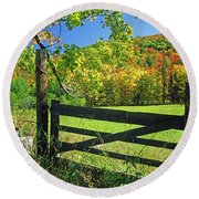 Old Gate At East Orange Round Beach Towel