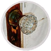 Old Glass Doorknob Round Beach Towel