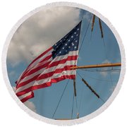 Old Glory Flying Over Eagle Round Beach Towel