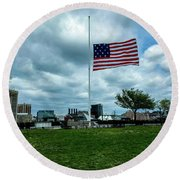 Old Glory Over Baltimore Round Beach Towel