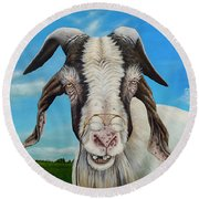 Old Goat - Painting By Cindy Chinn Round Beach Towel