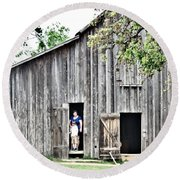 Old Grey Barn With Vistors Round Beach Towel