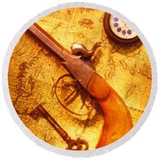 Old Gun On Old Map Round Beach Towel by Garry Gay