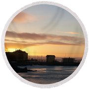 Old Harbour Of Kemi Round Beach Towel